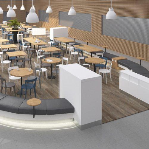 Interiéry - Vizualizace foodcourtu - Mooden design