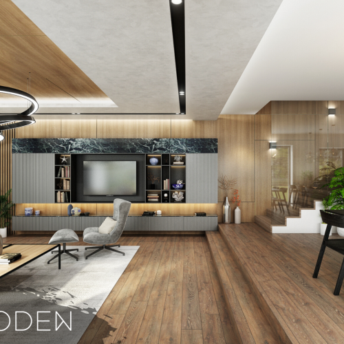 Interiéry - Luxusní obývací pokoj skuchyní - Mooden design