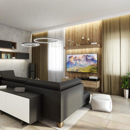 Vizualizace obývacího pokoje - Mooden design