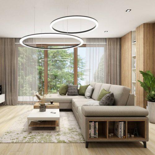 Interiéry - Obývák s hernou pro děti - Mooden design